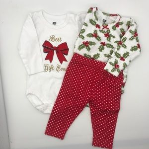 Holiday Baby onesie pants matching set Christmas